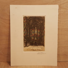 Load Image into Gallery Viewer, Lucien Gautier SIGNED Engraving ~ Sainte-Chapelle Gothic Church Paris France *