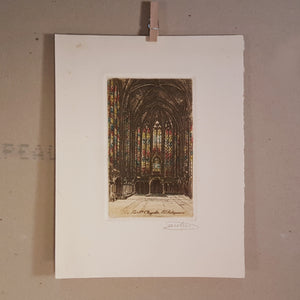Lucien Gautier SIGNED Engraving ~ Sainte-Chapelle Gothic Church Paris France *