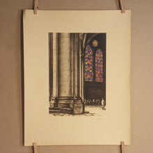 Load Image into Gallery Viewer, SET of 2 ~ NOTRE DAME Cathedral Stained Glass ~ 1931 Ltd Ed Signed Art Print