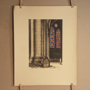 SET of 2 ~ NOTRE DAME Cathedral Stained Glass ~ 1931 Ltd Ed Signed Art Print