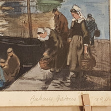 Load Image into Gallery Viewer, 1931 HENRI ALPHONSE BARNOIN Art Engraving Print - Boat Harbor Brittany France