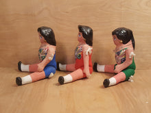 "Load Image into Gallery Viewer, Vintage SET of 3 ~ MEXICAN PUTA Lupita 9"" DOLL ~ Paper Mache Muneca Folk Art"