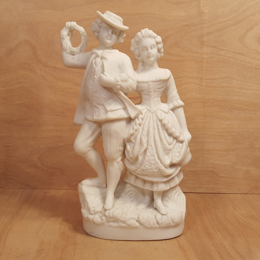 Vintage PARIAN Ware FIGURINE ~ COURTING COUPLE ~ White Porcelain Bisque