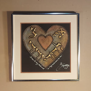 SIGNED Joel ZARETSKY ~ Beloved HEART ~ Framed Metallic Drip Judaica Art Painting