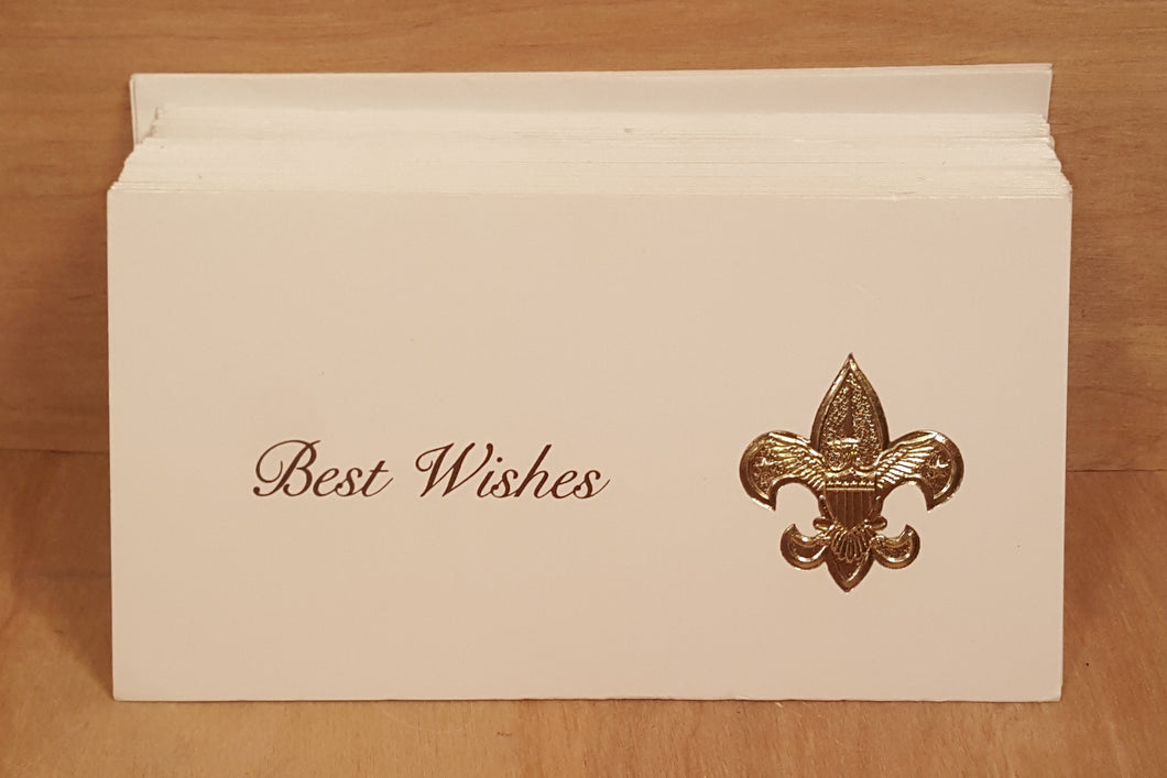 BOY SCOUTS GREETING CARDS ~ Best Wishes ~ BSA Emblem Gold Embossed ~ Lot of 36
