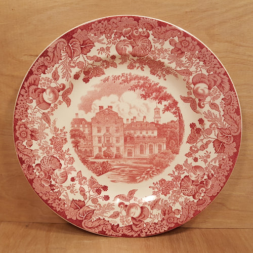 Vintage WEDGWOOD CHINA PLATE ~ HARVARD Leverett House ~ Red Transferware