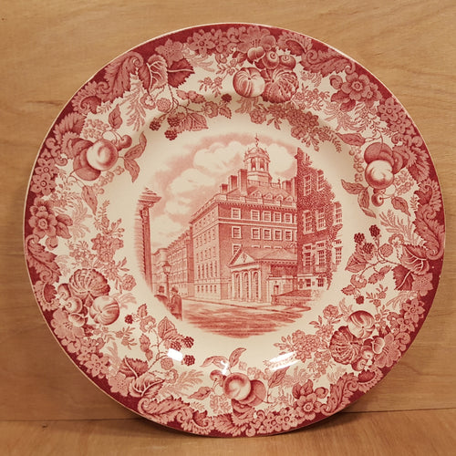 Vintage WEDGWOOD CHINA PLATE ~ HARVARD Adams House ~ Red Transferware