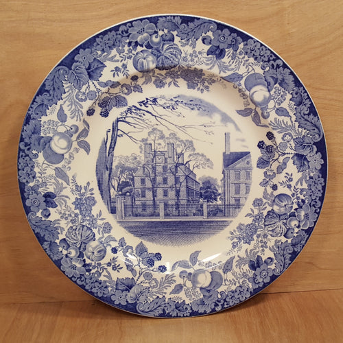 Antique WEDGWOOD CHINA PLATE ~ HARVARD Straus Hall ~ Blue Transferware