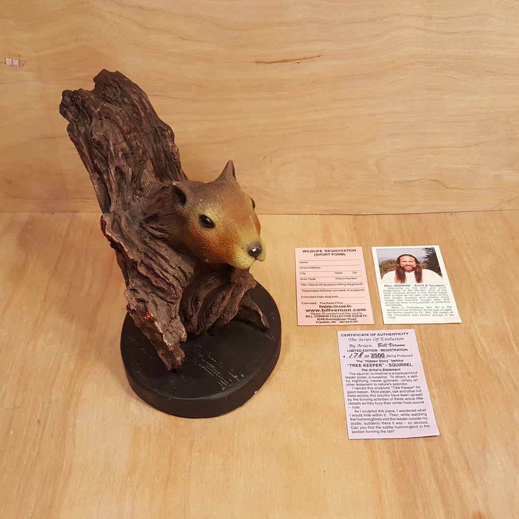 BILL VERNON Limited Edition SQUIRREL SCULPTURE Figurine ~ Tree Keeper