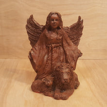 "Load Image into Gallery Viewer, Vintage Limited Edition ANGEL Girl with Lion and Lamb ""Harmony"" ~ Brown Resin"