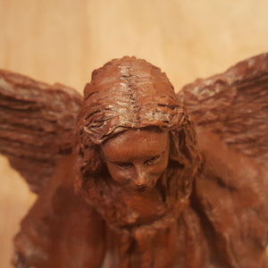 "Vintage Limited Edition ANGEL Girl with Lion and Lamb ""Harmony"" ~ Brown Resin"