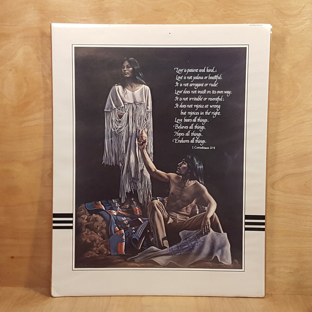 Vtg PENNI CROSS Art PRINT ~ NATIVE AMERICAN Couple ~ Bible Quote ~ Crow Tribe