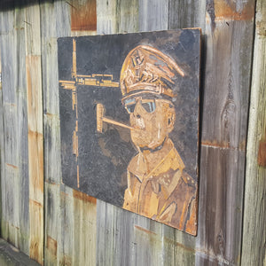 Mid Century GENERAL DOUGLAS MACARTHUR MIXED MEDIA WALL HANGING ~ UNIQUE FOLK ART