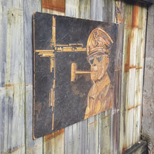 Load Image into Gallery Viewer, Mid Century GENERAL DOUGLAS MACARTHUR MIXED MEDIA WALL HANGING ~ UNIQUE FOLK ART