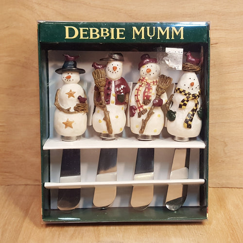 SET of 4 SNOWMAN CHEESE SPREADERS ~ Debbie Mum ~ Stainless Steel Pâté Knife