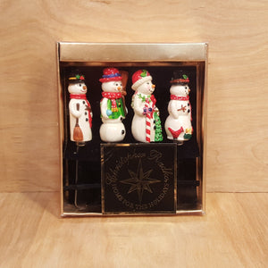 SET of 4 SNOWMAN CHEESE SPREADERS ~ Christopher Radko Stainless Steel Pâté Knife