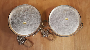 SET of 2 Metal Champagne Wine Bottle Holder ~ Matching Cork Stopper ~ Silver Gra
