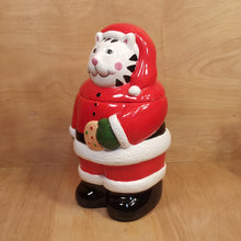 "Load Image into Gallery Viewer, Christmas SANTA CAT COOKIE JAR ~ 13"" Ceramic w/ BOX ~ Coco Dowley"