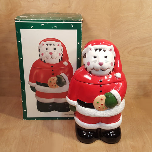 Christmas SANTA CAT COOKIE JAR ~ 13