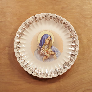 "Vintage 10"" Collector PLATE Immaculate Heart VIRGIN MARY Sanders Mfg Tennessee *"