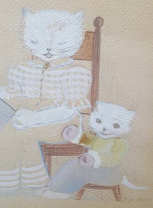 Vintage SIGNED Watercolor PAINTING ~ Mother CAT & 3 KITTENS ~ Marge Neylon