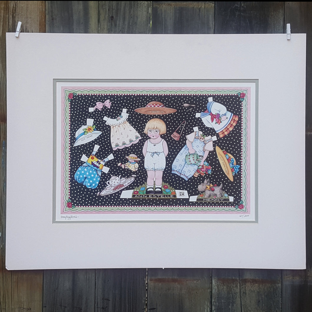 SIGNED Numbered Art PRINT ~ MARY ENGELBREIT ~ PAPER DOLLS ~ 26 x 21