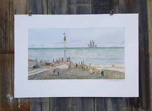 1970 SIGNED Numbered Art PRINT ~ Maritime WHALING SHIP ~ Robert R NEWELL *
