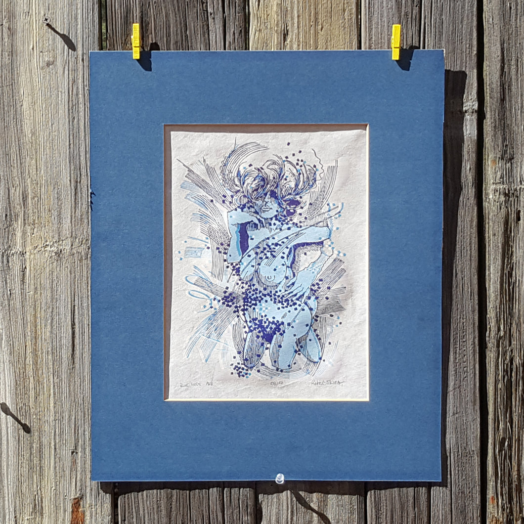 1968 Blue NUDE Woman WOODCUT Art Print on Rice Paper ~ SIGNED Robert SKELLEY
