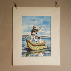 Vintage BOLIVIA Watercolor PAINTING ~ Indigenous MAN & WOMAN in Reed BOAT