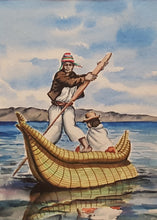 Load Image into Gallery Viewer, Vintage BOLIVIA Watercolor PAINTING ~ Indigenous MAN & WOMAN in Reed BOAT