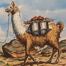 Load Image into Gallery Viewer, Vintage PERU Watercolor PAINTING ~ Indigenous WOMAN w/ LLAMA ~ Bolivia