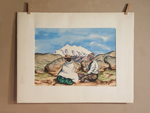 Load Image into Gallery Viewer, Vintage PERU Watercolor PAINTING ~ Seated Indigenous MAN & WOMAN ~ Bolivia