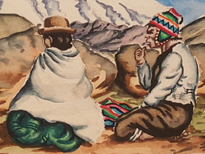 Vintage PERU Watercolor PAINTING ~ Seated Indigenous MAN & WOMAN ~ Bolivia