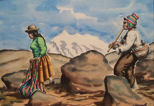 PERU Watercolor PAINTING ~ Indigenous MAN Playing FLUTE & WOMAN ~ Peruvian Bolivia