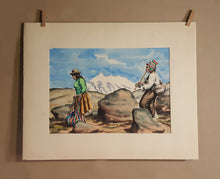 Load Image into Gallery Viewer, PERU Watercolor PAINTING ~ Indigenous MAN Playing FLUTE & WOMAN ~ Peruvian Bolivia