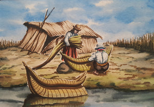 Vintage BOLIVIA Watercolor PAINTING ~ Indigenous MAN & WOMAN w/ Reed BOAT