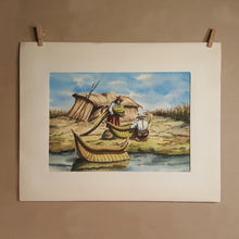 Load Image into Gallery Viewer, Vintage BOLIVIA Watercolor PAINTING ~ Indigenous MAN & WOMAN w/ Reed BOAT
