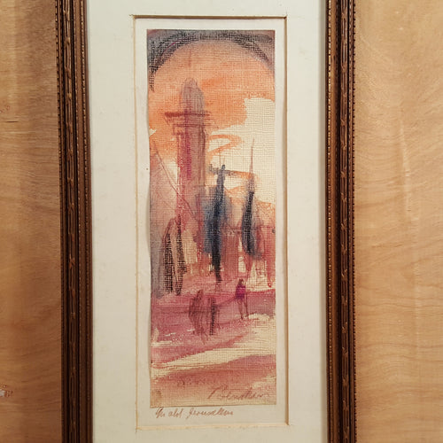 Vintage SIGNED Josef BENSKIN Watercolor PAINTING ~ Old JERUSALEM Israel