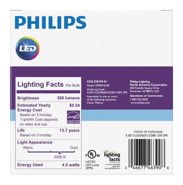 B11 Philips 4.5W Small Base Candelabra Daylight Indoor (6 Pack) image 3532440141883