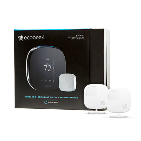 ecobee4 Smarter Wi-Fi Thermostat + 2 Room Sensors