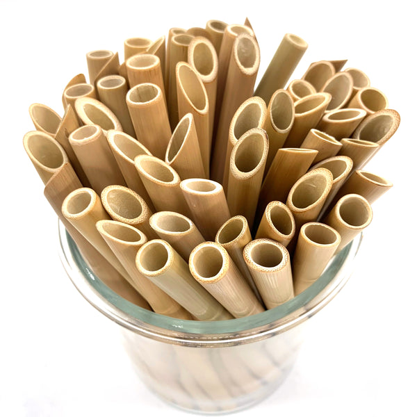 (Set of 3/5/10) Boba Sharp Edge Bamboo Straws