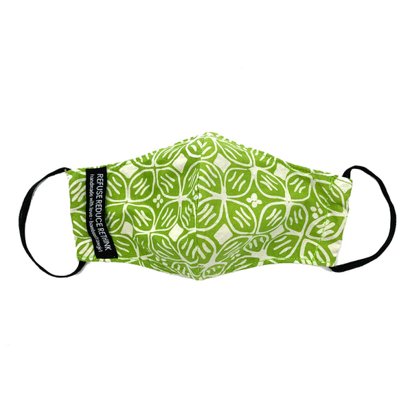 Batik Face Mask (Green Kawung) (Regular size)