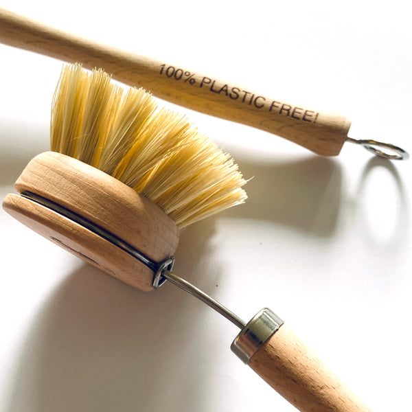 Dish scrub optional long wooden handle (natural bristles)