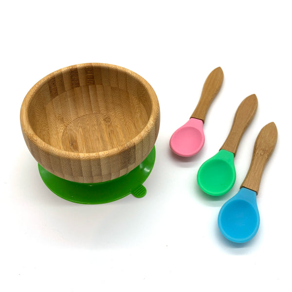 Bamboo / silicone kiddy cutlery dining items