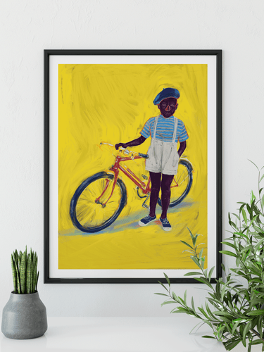 Boy with Bike Art Print