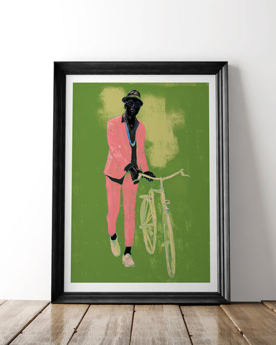 Man with Bike Art Print - Green