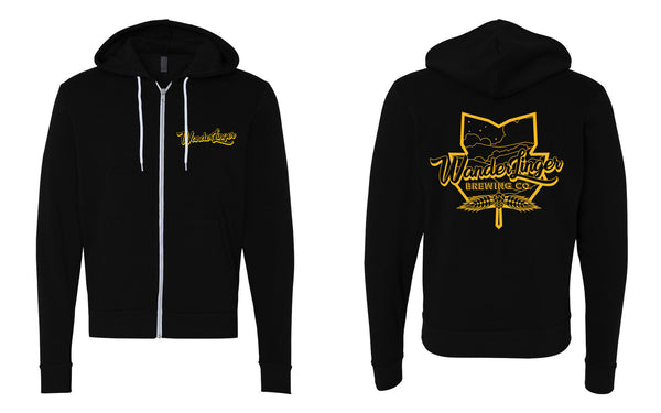Black zip hoodie with Gold logo