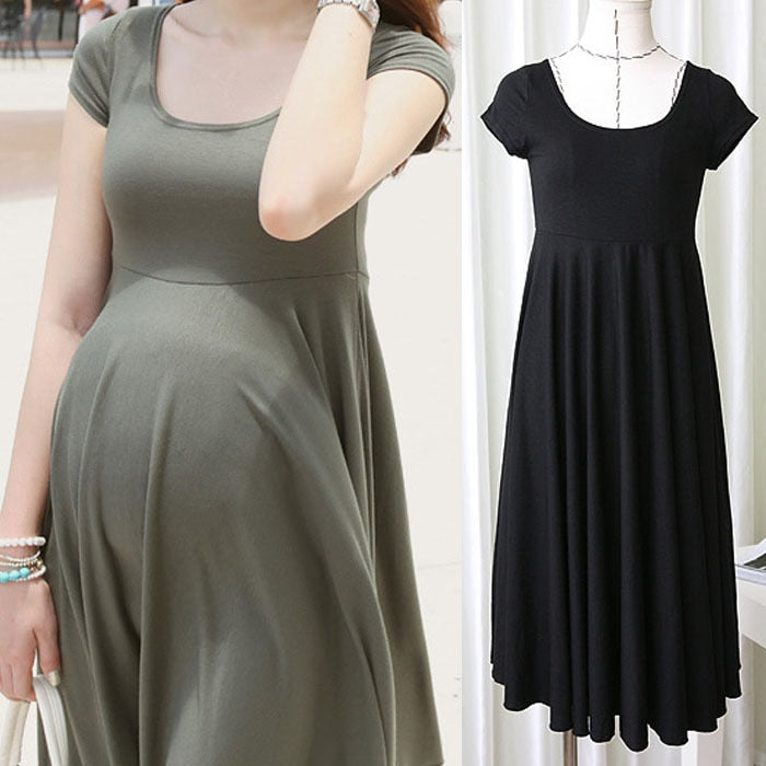 O-neck Short Sleeve 4 Colors Slim Dress Wear