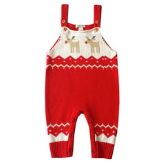 Newborn Christmas Rompers Baby Boy Crochet Costume Deer Knitted Bib Romper Long Sleeve Strap Jumpsuit New Born Bebes Clothing