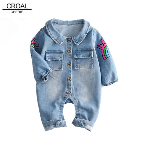 Croal Cherie Kawaii Rainbow Pringting Newborn Baby Clothes Denim Baby Girls Boys Romper Jumpsuit New Born Infant Rompers Jeans